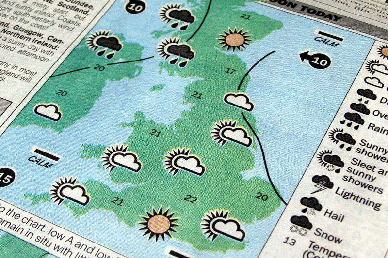 Picture of a newspaper page showing a map of the United Kingdom with various cloud and sun icons for different weather forecasts