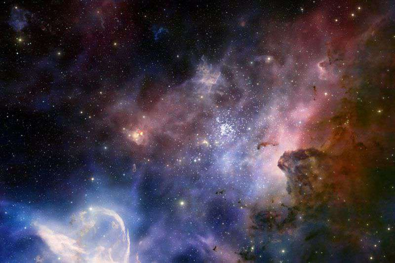 Picture of the many bright objects in the black sky of our universe